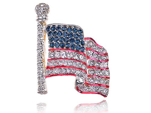 Genuine Crystal Rhinestone America USA Flag Fashion