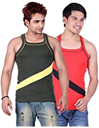 White Moon Gym Vests - Pack Of 2 (Green_Red)