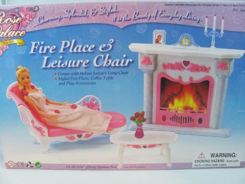 Barbie Size Dollhouse Furniture- Living Room Fire Place Leisure Chair (Dollhouse Furniture Fireplace compare prices)