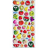 Puffy Dimensional Stickers - Cute Fruit Faces