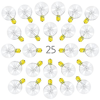 25 Pack of G40 Globe Light Bulbs for String Lights - Fits E12 and C7 Sockets - 5 Watt Replacement Clear Glass Bulbs