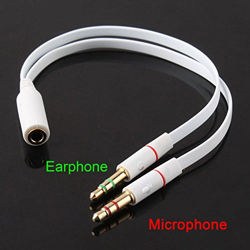 GadgetsAccessories 3.5mm 1 Female to 2 Male Gold Plated Headphone Earphone Mic Audio Y Aux FLAT Splitter Cable - White