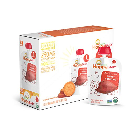 Happy Baby Organic Stage 1 Baby Food, Starting Solids, Sweet Potatoes, 3.5 oz (Pack of 16)