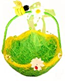 Easter Basket with Decor ( Flowers , Bees ) Handmade