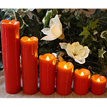"LED Lytes Flameless Candles with Timer, SLIM Set of 6, 2"" WIDE and 2""- 9"" TALL, Red Color Wax and Amber Yellow Flame for Holidays, Weddings and Parties"