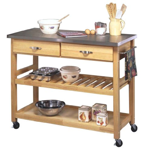 Rolling kitchen island with stainless steel top Kitchen utility island