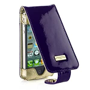 Pipetto P016-14 Luxury Patent Leder FlipCasefür Apple iPhone 4/4S lila