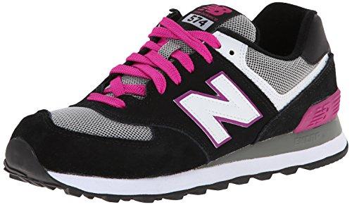 New Balance Women's WL574 Core Running Shoe,Black/Pink,11 B US