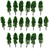 Magideal 20pcs Dark Green Cypress Model Trees Train Railway Layout N 1:150 Scale Tree