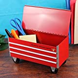 Busted Knuckle Garage Mini Desktop Red Metal Toolbox Office Organizer Caddy