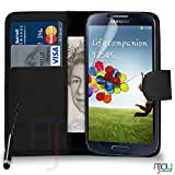 Samsung Galaxy S4 i9500 Premium Leather Black Wallet Flip Case Cover Pouch + Mini Touch Stylus Pen + Screen Protector & Polishing Cloth SVL1 BY MOBILE JOY, (WALLET BLACK)