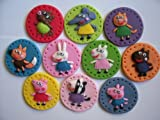 EDIBLE SUGARPASTE CAKE DECORATIONS CUPCAKE TOPPERS PEPPA PIG AND FRIENDS