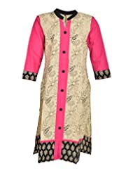 Global Women's Cotton Straight Kurta (GW19Peach50015, Peach, 50)