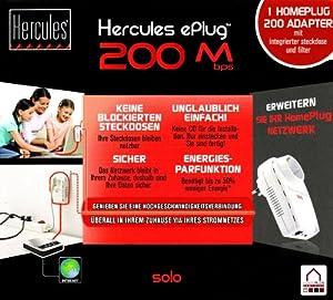 Hercules 4790159 ePlug - Adaptador PowerLAN con enchufe integrado (200 Mbps)