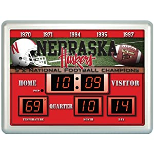 Team Sports America Nebraska Cornhuskers 14x19 Scoreboard Clock Thermometer by Team Sports America