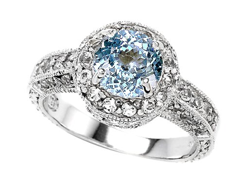 Original Star K(tm) 7mm Round Simulated Aquamarine Engagement Ring in .925 Sterling Silver Size 5