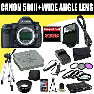 Canon EOS 5D Mark III 22.3 MP Full Frame CMOS with 1080p Full-HD Video Mode Digital SLR Camera (Body) + TWO LP-E6 Replacement Lithium Ion Battery + External Rapid Charger + 32GB Compact Flash Memory Card + 72mm Wide Angle Lens + 72mm 3 Piece Filter Kit + Macro Close Up Kit + Mini HDMI Cable + Full Size Tripod + External Flash + SDHC Card USB Reader + Memory Card Wallet + Deluxe Starter Kit Deluxe Accessory Kit