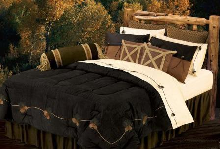 Black Pine Embroidered Comforter Set - Super King
