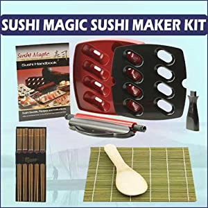Harold Imports Sushi Magic Express Home Sushi Maker Kit With Helens Asian Kitchen Bamboo Sushi Mat With Bamboo Sushi Paddle and Silk Wrapped Chopsticks (5-PACK)