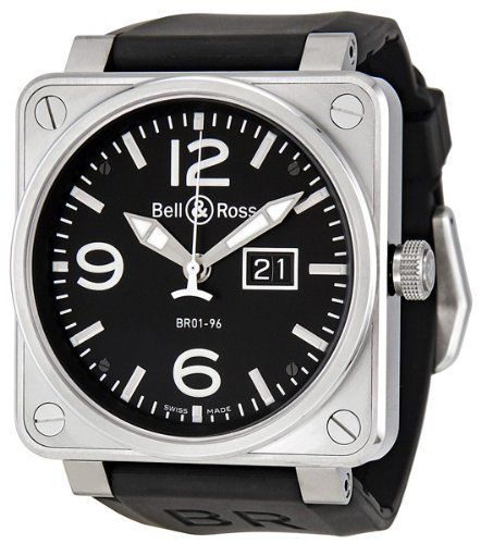 Bell and Ross Grande Date Black Dial Black Rubber Mens Watch BR0196-BL-ST