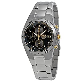 Seiko #SND451 Men's Titanium Black Dial Chronograph Sports Watch
