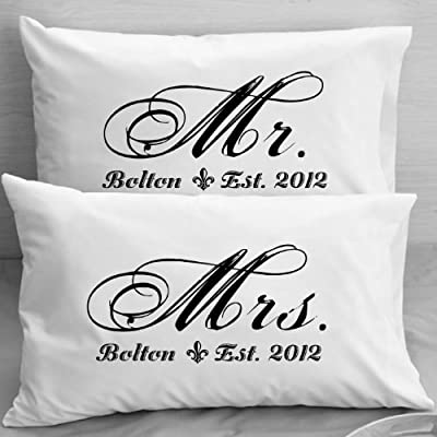 Mr and MRS Pillowcases Personalized Wedding Gift, Anniversary, Romantic Gift Idea for Couples.