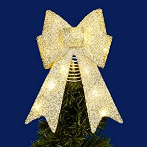 "Kurt Adler 14"" Lighted Gold Bow Tree Topper"