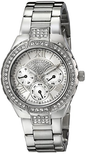 GUESS Women's U0111L1 Sparkling Silver-Tone Hi-Energy Mid-Size Watch (Guess Analog Silver Dial compare prices)