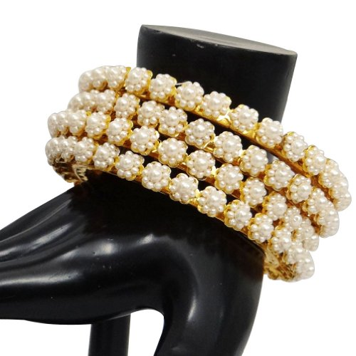 Indian Party Wear Pearl Kundan Bangle Set Gold Tone Bracelet Costume Jewellery 2*6