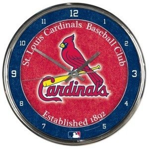 St. Louis Cardinals Round Chrome Wall Clock by Hall of Fame Memorabilia