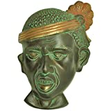Elegant Brass Tribal Mask Statue