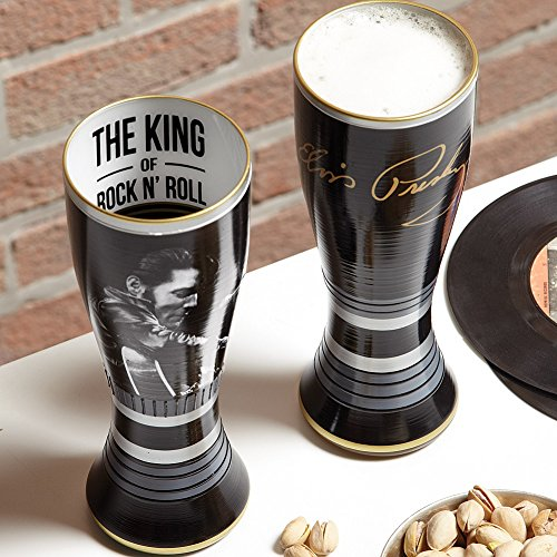 Elvis Presley Handpainted Pilsner Glass King Of Rock And Roll Collectible