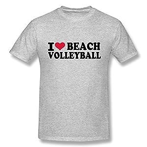 Love Beachvolleyball Print 100% Cotton Tee Shirts For Men