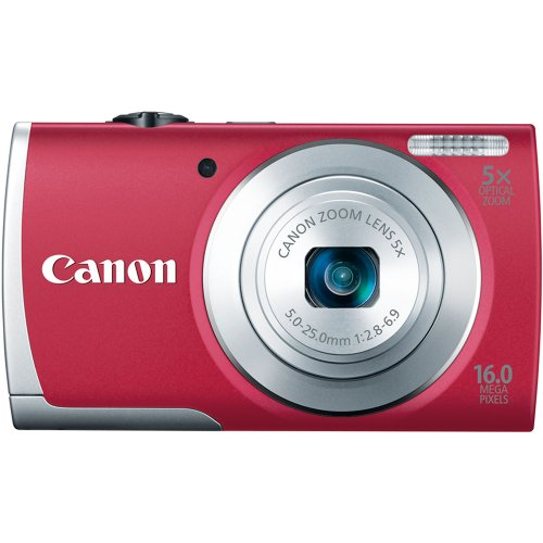 Canon PowerShot A2600 16.0 MP Digital Camera with 5x Optical Zoom and 720p Full HD Video Recording (Red)