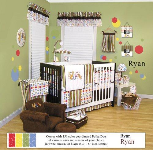 Dr Seuss ABC / Alphabet 4 PC Crib Bedding Set PLUS 150 Polka Dot Wall Decals & Personalized Name (8