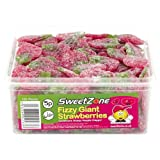SweetZone 100% Halal Jelly Sweets - Fizzy Giant Strawberries Tub of 120pcs