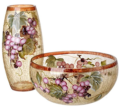 5th Avenue Collection Murano Glass Candy/Potpourri Bowl and Vase,Set Of 2 - Grape Wine Décor (Centerpieces With Grapes compare prices)
