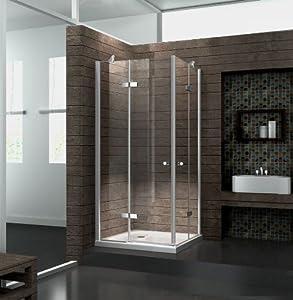 Eckeinstieg Duschkabine 8 mm Duschabtrennung Dusche Echt Glas 80 x 80 x 195 cm CORNO ohne Duschtasse  Kritiken und weitere Informationen