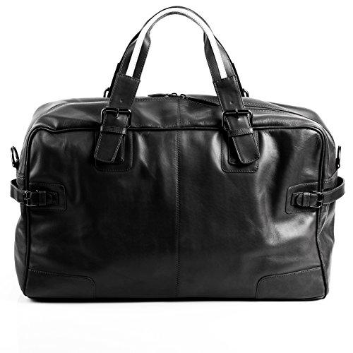 BACCINI large travel bag - weekender ROBERTO - sports bag black leather