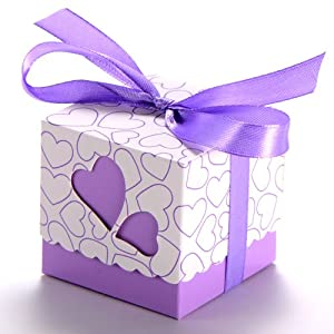 ... Party Gift Boxes With Ribbons (Purple): Amazon.co.uk: Kitchen & Home