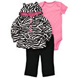 Carter's Girls 3-piece Microfleece Cardigan Set Zebra (6 Months, Multi)