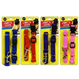 Adjustable Dog Collar and Lead Set for Small to Medium Dogs or Big Breed Puppies - Assorted Colours