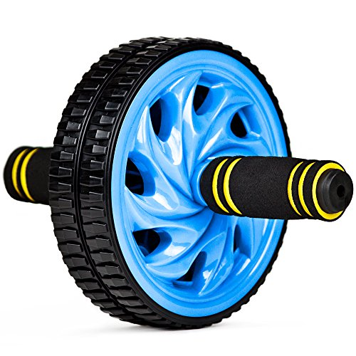 Crown Sporting Goods Ab Wheel with Dual Non-Skid Wheels and No-Slip Comfort Grips, Blue (Push Up Wheel compare prices)