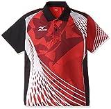 (ミズノ)MIZUNO 卓球ウェア ゲームシャツ[ユニセックス] 82JA6006 62 チャイニーズレッド×ブラック 2XL