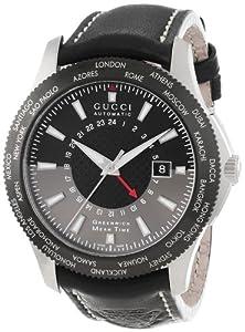 Gucci Men's YA126212 G-Timeless GMT Black Leather Strap Watch