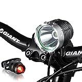 AMOTAIOS® 防水充電LED自転車ヘッドライト 米国CREE XM-L T6 サイクルヘッドライト 超高輝度最大1200ルーメン 三つモード アウトドア 夜間活動 釣り