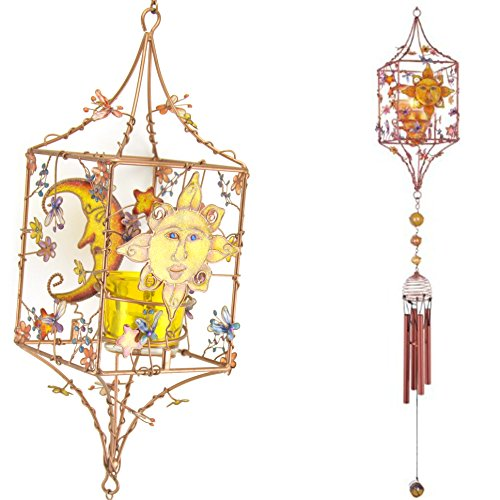 Copper Tealight Votive Candle Holder Windchime Wind Chime, Celestial Sun Moon Stars, 36-inch, Garden Yard Decor