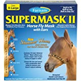 Farnam SuperMask II Fly Control Mask with Ears for Horses, X-Large, Copper Mesh with Cheetah Trim