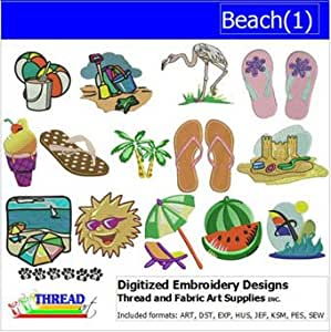 Machine embroidery designs beach 1 cd for Beach house embroidery design