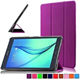Infiland Samsung Galaxy Tab A 9.7 Custodia Case- Slim Tri-Fold in pelle Smart Ultra sottile e leggera Case Cover Custodia per Samsung Galaxy Tab A 9.7 T550N/ T555N 24,6 cm (9,7 pollice) WiFi/LTE Tablet-PC( con Auto Sonno/Veglia Funzione)(Viola)